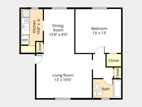 1 Bed/1 Bath with Dining Room