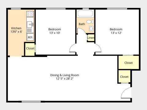 2 Br/1 Bath with Dining Room